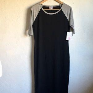 LuLaRoe Julia Black with Gray Sleeves Dress M